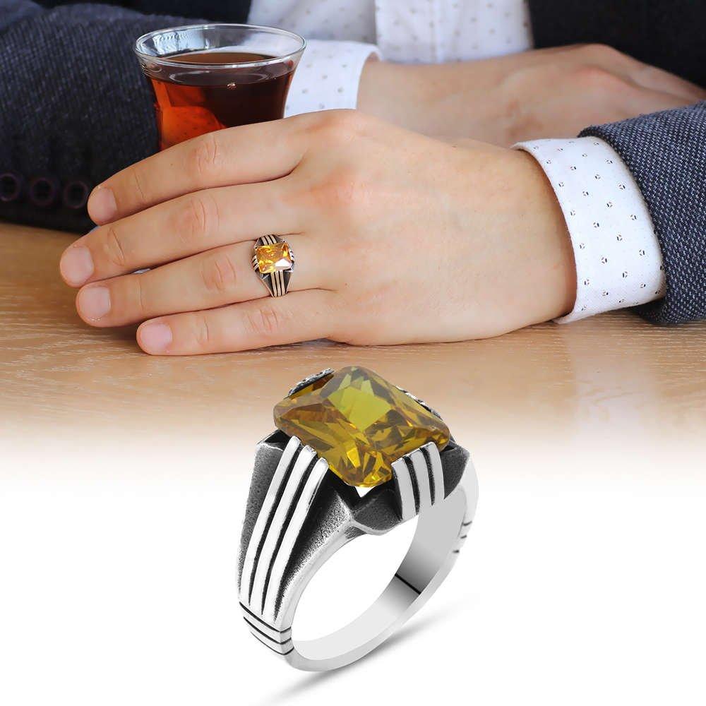 Sarı Zirkon Taşlı Zarif Tasarım 925 Ayar Gümüş Erkek Yüzük