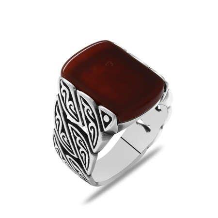 Sarmaşık Tasarım Kırmızı Akik Taşlı 925 Ayar Gümüş Erkek Yüzük - Thumbnail