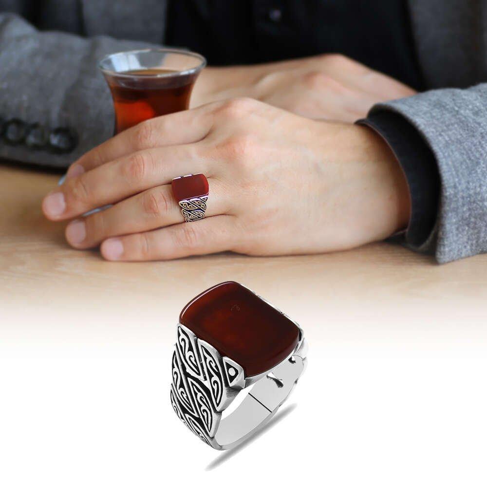 Sarmaşık Tasarım Kırmızı Akik Taşlı 925 Ayar Gümüş Erkek Yüzük