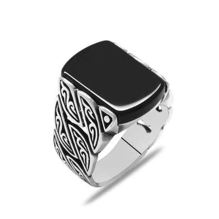 Sarmaşık Tasarım Siyah Oniks Taşlı 925 Ayar Gümüş Erkek Yüzük - Thumbnail