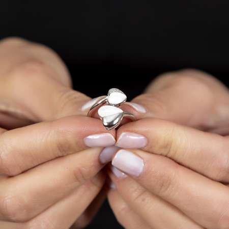 Sedef Taşlı Kalp Tasarım 925 Ayar Gümüş Kadın Yüzük - Thumbnail