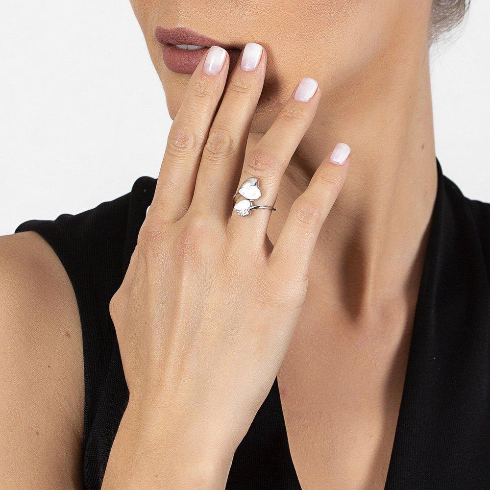 Sedef Taşlı Kalp Tasarım 925 Ayar Gümüş Kadın Yüzük