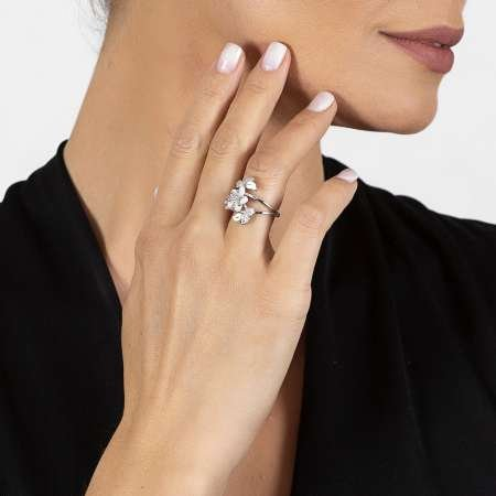 Sedef Taşlı Kır Çiçeği Tasarım Yaprak Detaylı 925 Ayar Gümüş Kadın Yüzük - Thumbnail