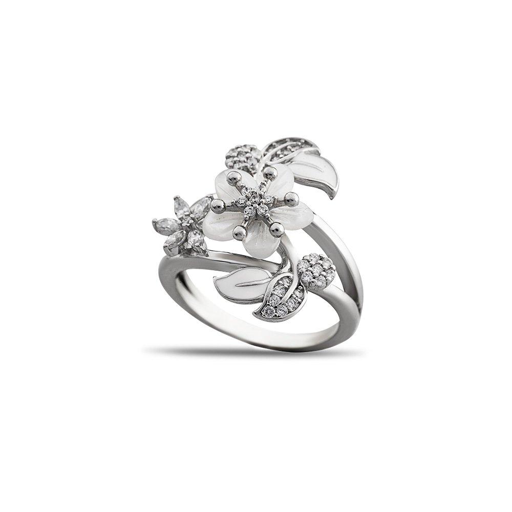 Sedef Taşlı Kır Çiçeği Tasarım Yaprak Detaylı 925 Ayar Gümüş Kadın Yüzük