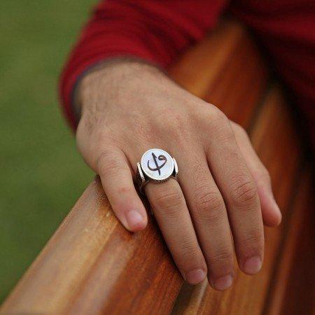 Sedef Üzerine Elif Vav Harfli 925 Ayar Gümüş Oval Yüzük - Thumbnail