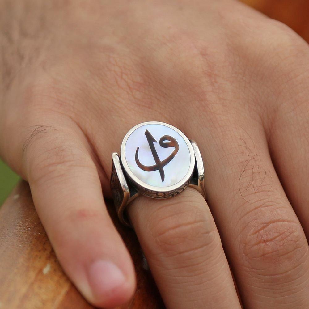 Sedef Üzerine Elif Vav Harfli 925 Ayar Gümüş Oval Yüzük