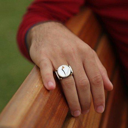 Sedef Üzerine Mim Harfli 925 Ayar Gümüş Oval Yüzük - Thumbnail