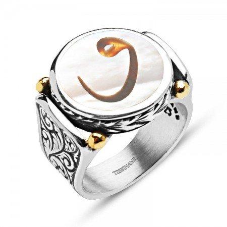 Sedef Üzerine Vav Harfli 925 Ayar Gümüş Yüzük - Thumbnail