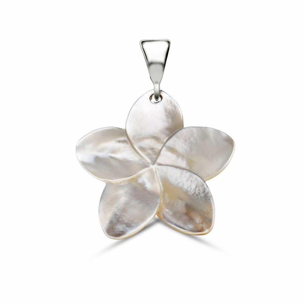 Sedef Yapım Çiçek Desenli Kolye (Gümüş Zincirli)