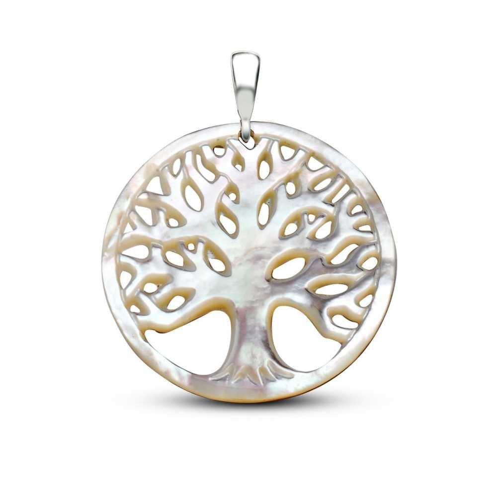 Sedef Yapım Hayat Ağacı Kolye (Gümüş Zincirli)