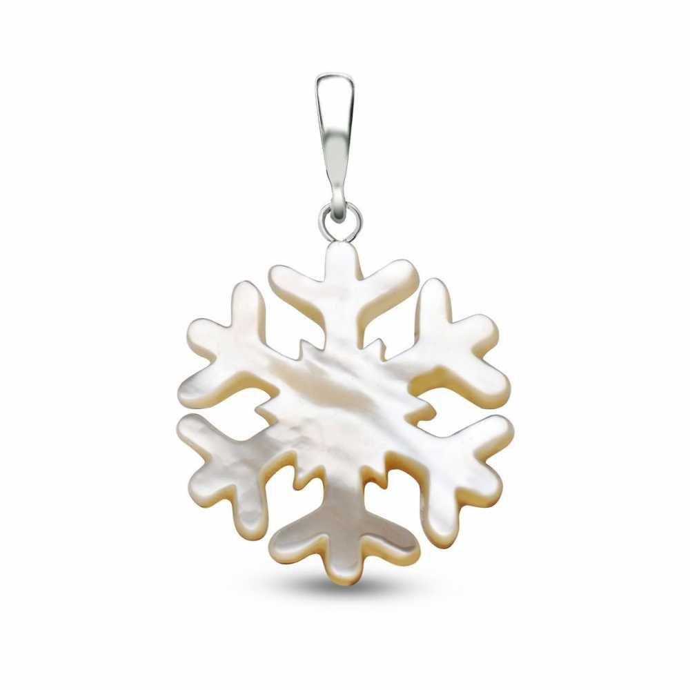 Sedef Yapım Kar Tanesi Kolye (Gümüş Zincirli)