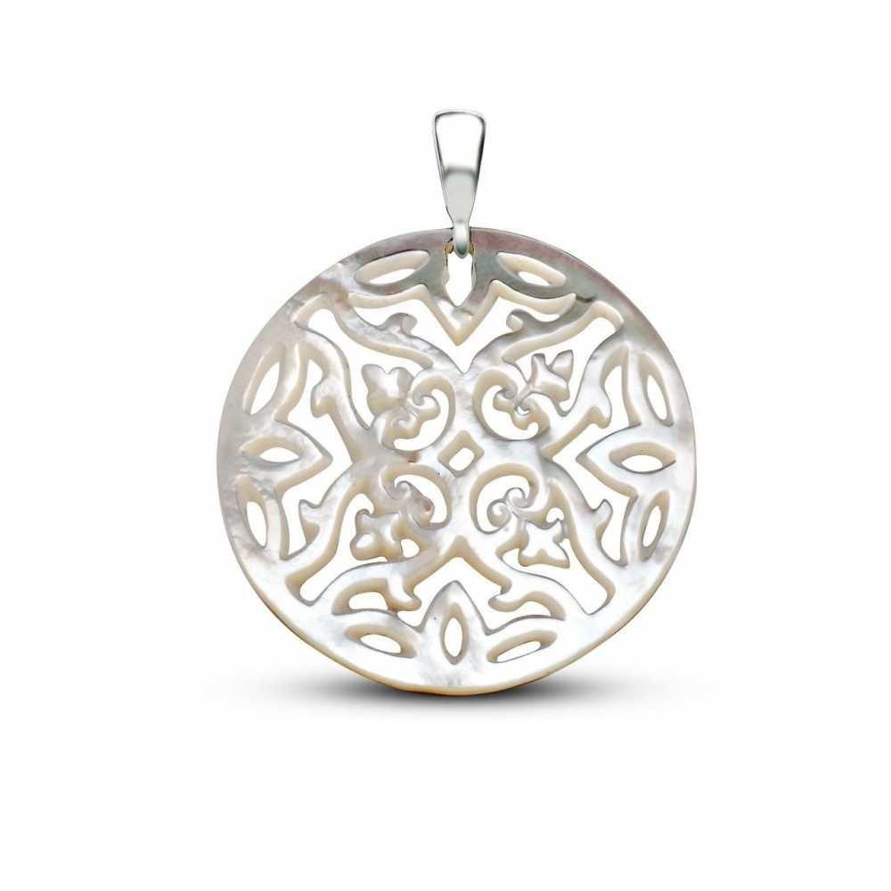 Sedef Yapım Özel Çiçek Desenli Kolye (Gümüş Zincirli)
