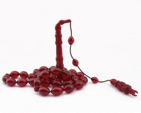 Selamet Şeker Ustadan Minare Model Kırmızı Renk Sıkma Kehribar Tesbih - Thumbnail