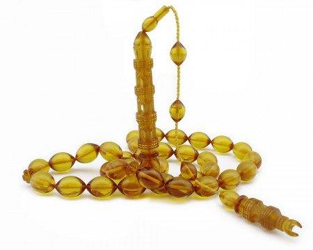 Selamet Şeker Ustadan Minare Model Sarı Renk Sıkma Kehribar Tesbih - Thumbnail