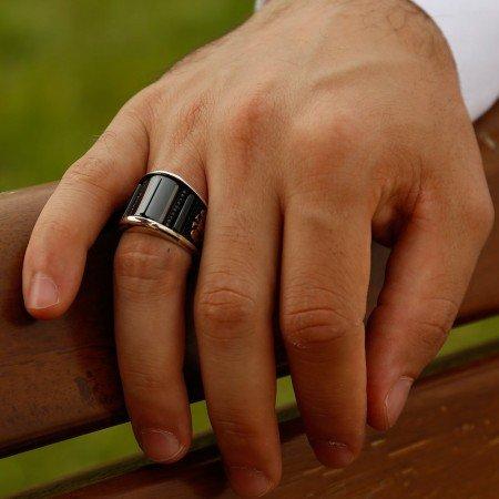 Selçuk Kartal Detaylı Oniks Taşlı Gümüş Yüzük - Thumbnail