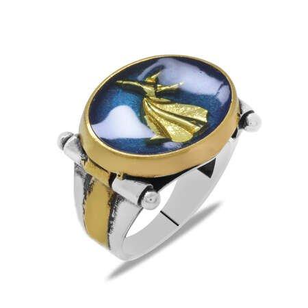 Semazen Tasarım Mavi Mineli 925 Ayar Gümüş Erkek Yüzük - Thumbnail