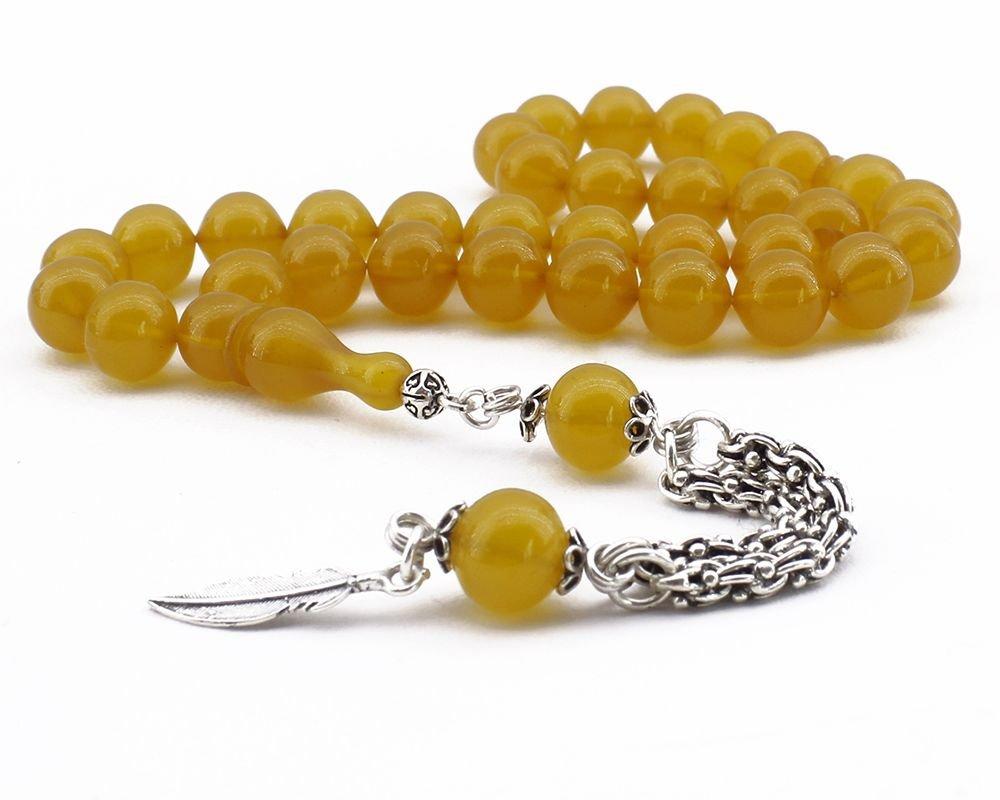 Sığırcık Kesim Gümüş Yaprak Püsküllü Sarı Sıkma Kehribar Tesbih