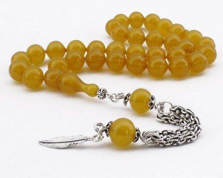 Sığırcık Kesim Gümüş Yaprak Püsküllü Sarı Sıkma Kehribar Tesbih - Thumbnail