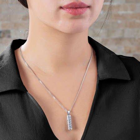 Şık Tasarım 925 Ayar Gümüş Cevşen Kolye - Thumbnail