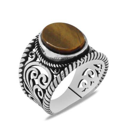 Şık Tasarım Kaplangözü Taşlı 925 Ayar Gümüş Erkek Yüzük - Thumbnail