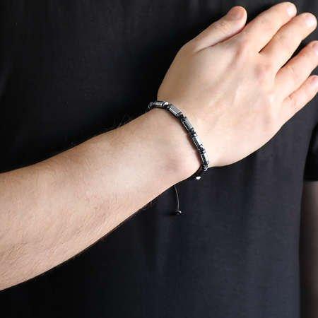 Silindir Kesim Makrome Örgülü Silver-Siyah Hematit Doğaltaş Bileklik - Thumbnail