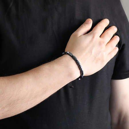 Silindir Kesim Makrome Örgülü Siyah Hematit Doğaltaş Bileklik - Thumbnail