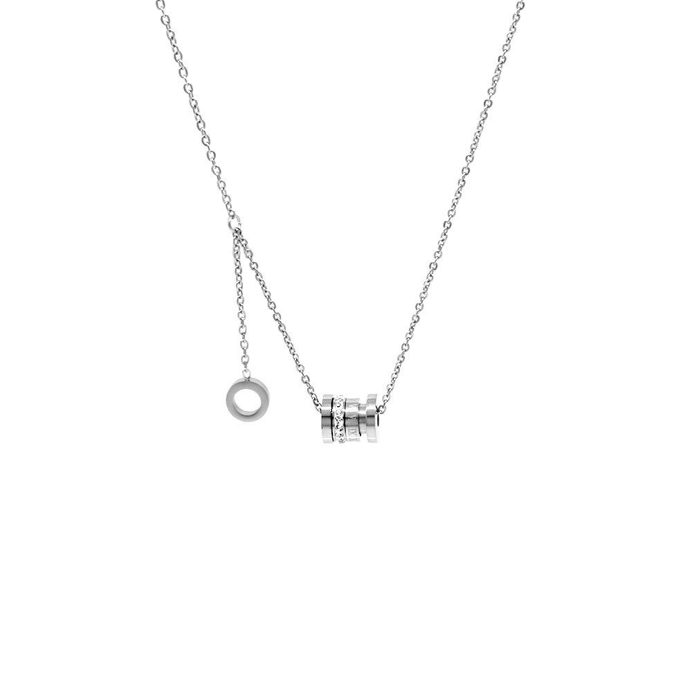 Silindir Tasarım Zirkon Taşlı Silver Renk Çelik Kadın Kolye