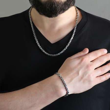 Silver Renk Kalınlık 5 mm 317L Çelik Kral Zincir&Bileklik Kombini - Thumbnail
