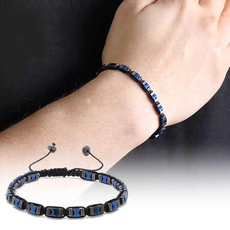Simetrik Tasarım Makrome Örgülü Mavi-Siyah Hematit Doğaltaş Bileklik - Thumbnail