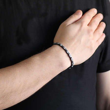 Simetrik Tasarım Makrome Örgülü Silver-Siyah Hematit Doğaltaş Bileklik - Thumbnail