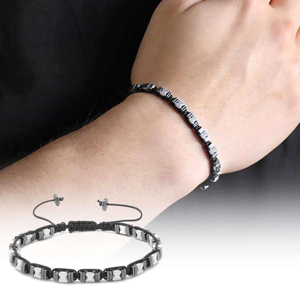 Simetrik Tasarım Makrome Örgülü Silver-Siyah Hematit Doğaltaş Bileklik