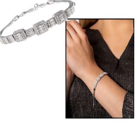 Sıralı Baget Taşlı Yarım Tur 925 Ayar Gümüş Kadın Bileklik - Thumbnail