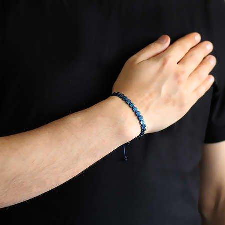 Sıralı Prizma Tasarım Makrome Örgülü Mavi Hematit Doğaltaş Bileklik - Thumbnail