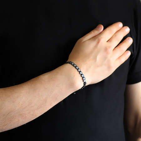 Sıralı Prizma Tasarım Makrome Örgülü Silver-Gri Hematit Doğaltaş Bileklik - Thumbnail