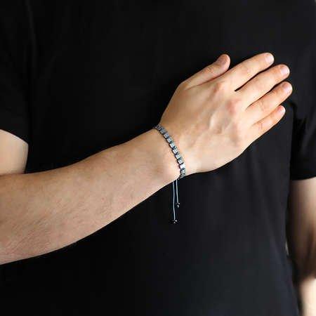 Sıralı Prizma Tasarım Makrome Örgülü Silver Hematit Doğaltaş Bileklik - Thumbnail