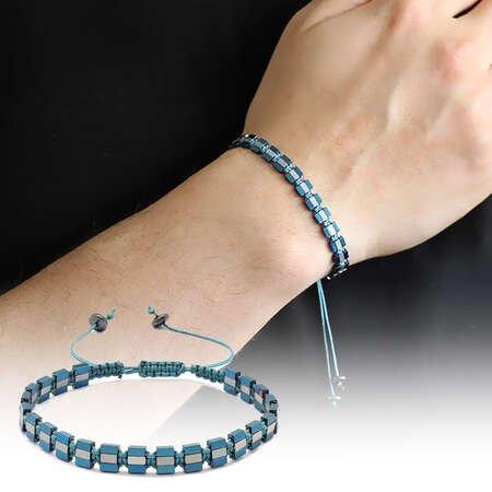 Sıralı Prizma Tasarım Makrome Örgülü Silver-Mavi Hematit Doğaltaş Bileklik - Thumbnail