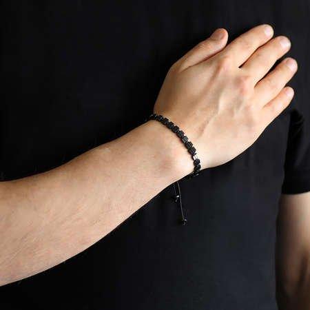 Sıralı Prizma Tasarım Makrome Örgülü Siyah Hematit Doğaltaş Bileklik - Thumbnail