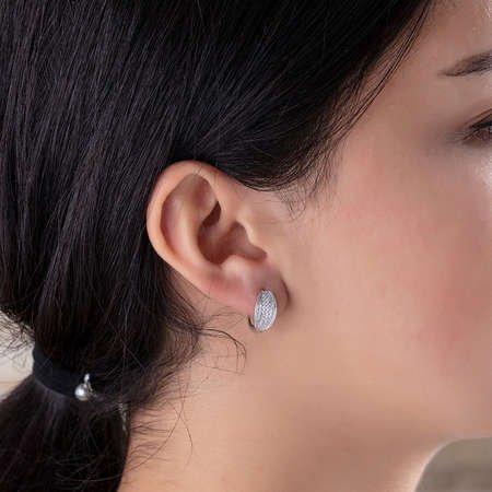 Sıralı Zirkon Taşlı Elips Tasarım 925 Ayar Gümüş Bayan Küpe - Thumbnail