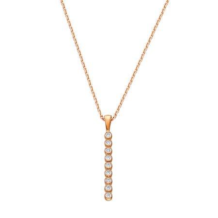 Sıralı Zirkon Taşlı Gold Renk 925 Ayar Gümüş Bayan Kolye - Thumbnail