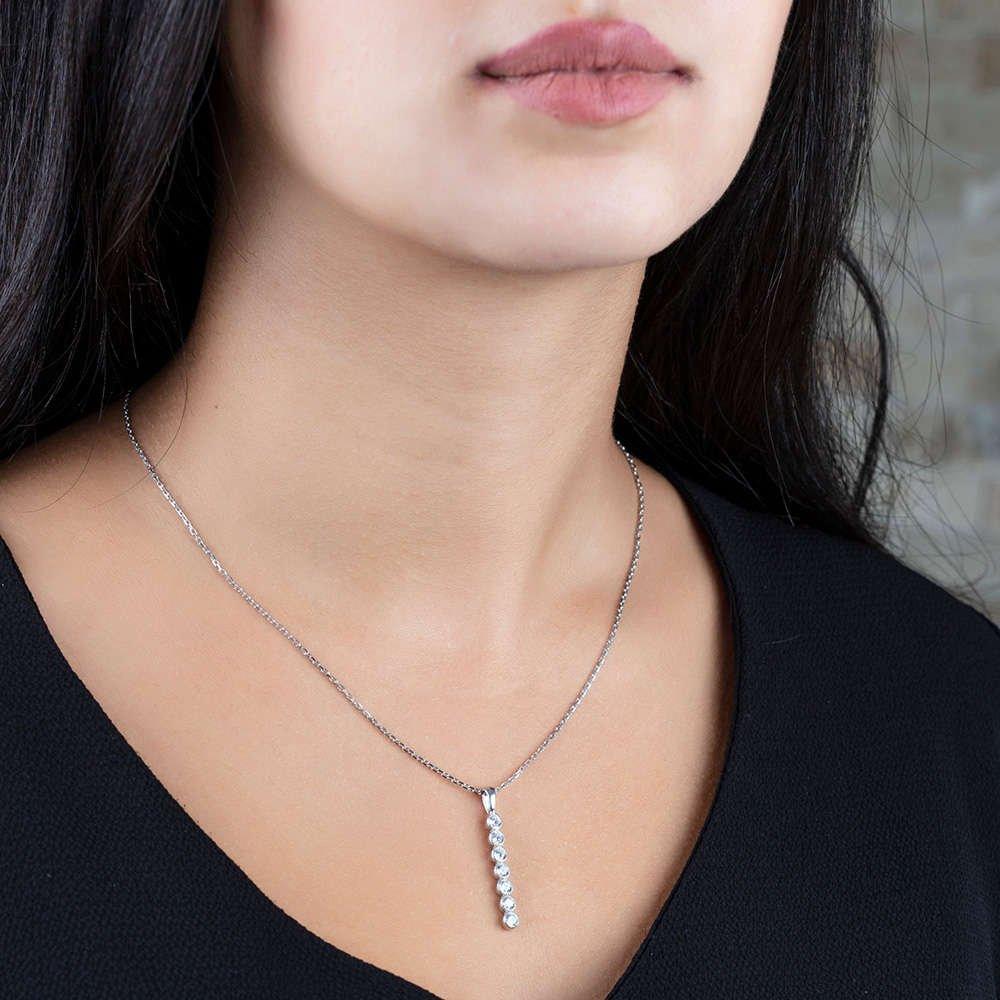 Sıralı Zirkon Taşlı Silver Renk 925 Ayar Gümüş Bayan Kolye