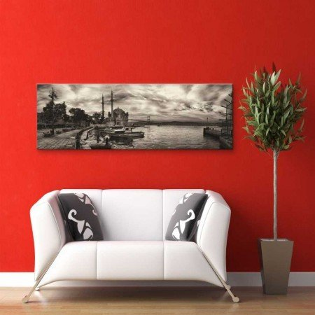 Siyah Beyaz Ortaköy Manzaralı Kanvas Tablo - Thumbnail