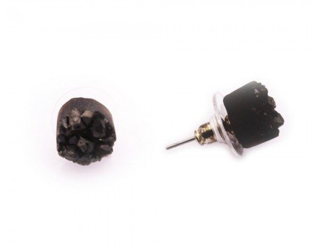 Siyah Kristal Doğaltaşlı Oval Tasarım Küpe - Thumbnail