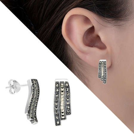 Siyah Markazit Taşlı 925 Ayar Gümüş Bayan Küpe - Thumbnail