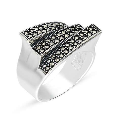 Siyah Markazit Taşlı 925 Ayar Gümüş Bayan Yüzük - Thumbnail