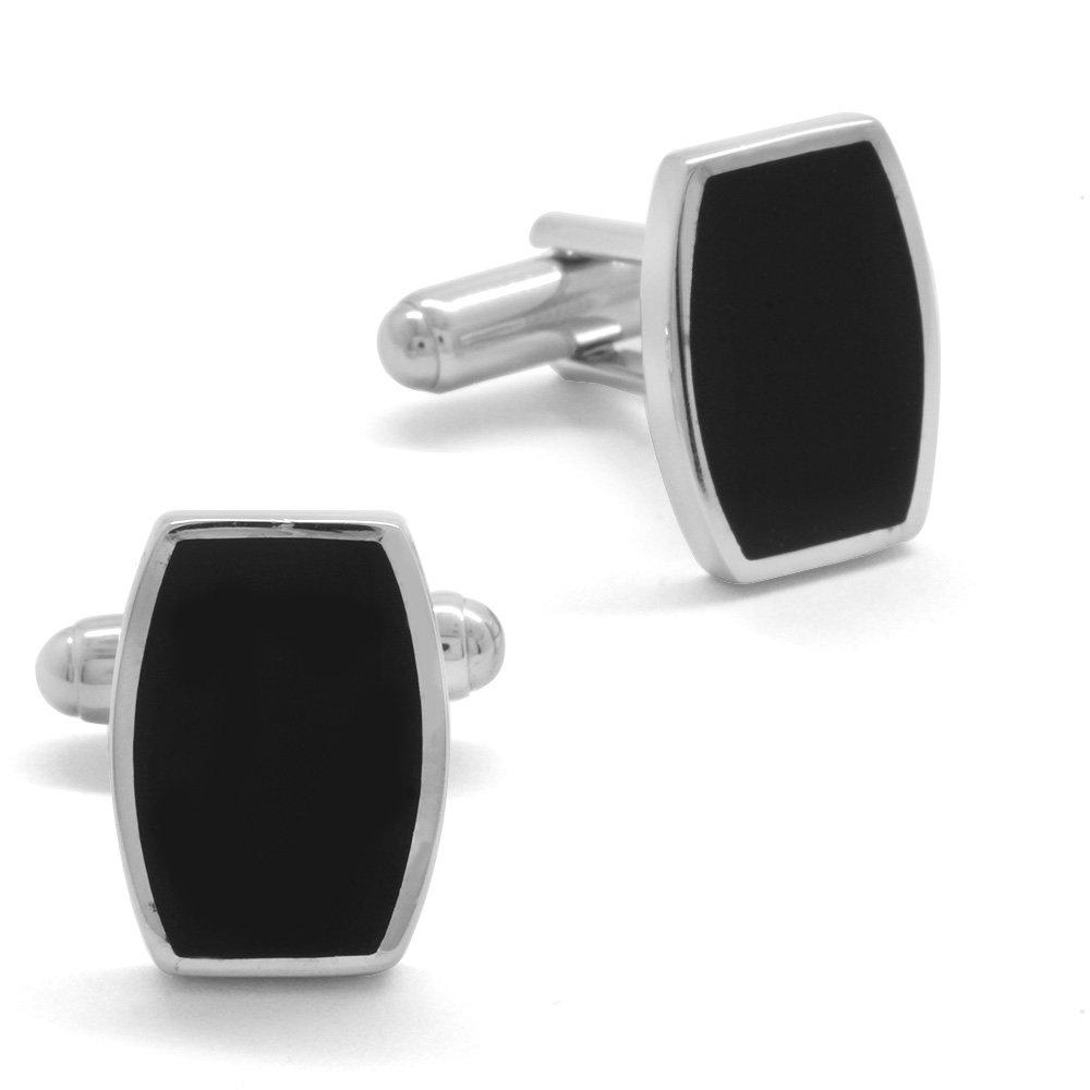 Siyah Mineli Şık Tasarım 925 Ayar Gümüş Kol Düğmesi