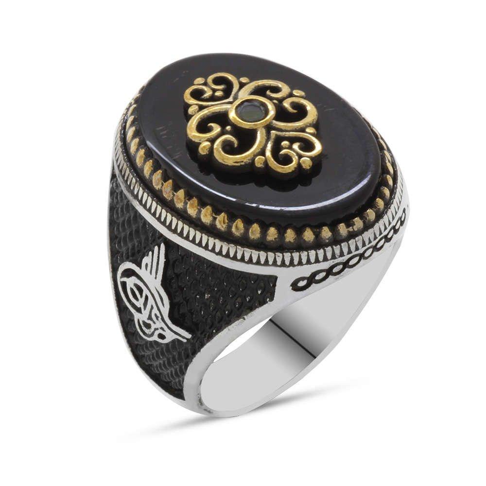 Siyah Oniks Taş Üzeri Kabartma Anadolu Motifli 925 Ayar Gümüş Erkek Yüzük