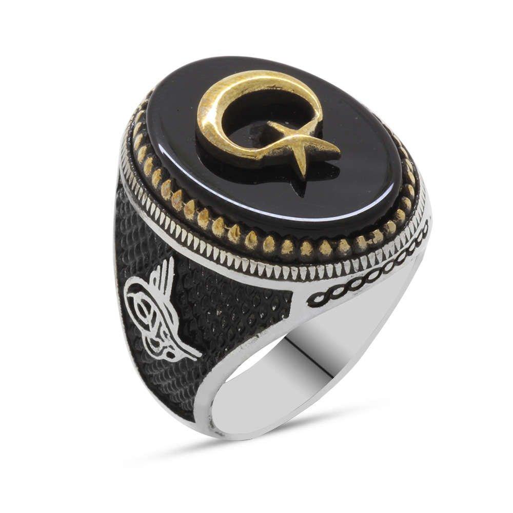 Siyah Oniks Taş Üzeri Kabartma Ayyıldız Motifli 925 Ayar Gümüş Erkek Yüzük