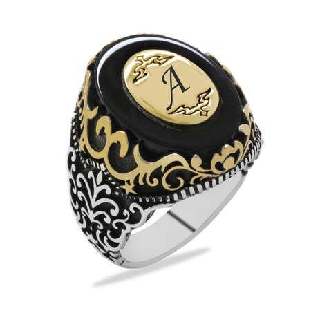 Siyah Oniks Taş Üzerine Kişiye Özel İsim/Harf Yazılı 925 Ayar Gümüş Erkek Yüzük - Thumbnail