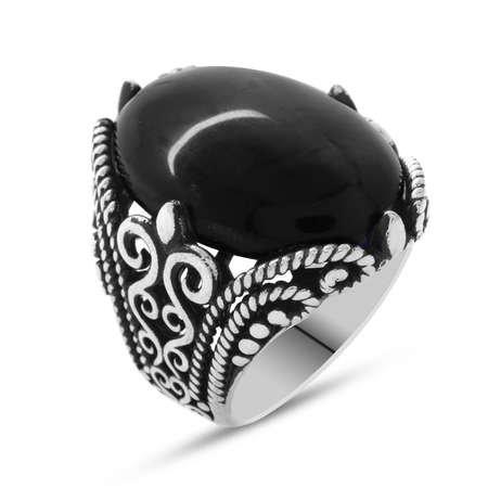 Siyah Oniks Taşlı Ferforje Tasarım 925 Ayar Gümüş Erkek Yüzük - Thumbnail