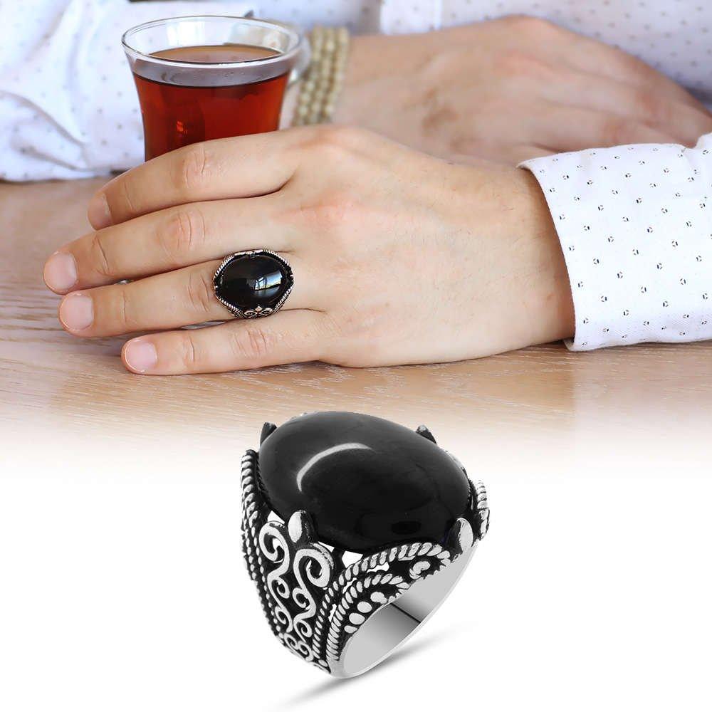 Siyah Oniks Taşlı Ferforje Tasarım 925 Ayar Gümüş Erkek Yüzük